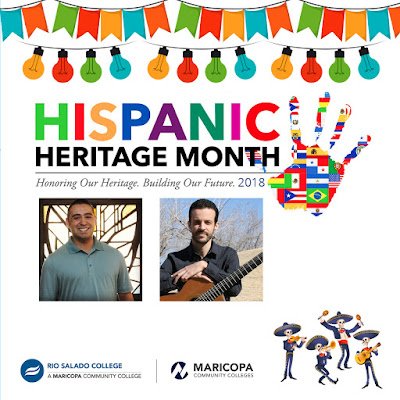 Alt text: Poster featuring an illustrated image of a colorful banner and lights, official Hispanic Heritage logo with text: Honoring Our Heritage. Building Our Future 2018.  Rio and Maricopa logos and band of Dias de los Muretos band playing musical instruments.  Photos of performers