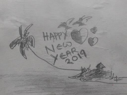 Shiju M Drawings Happy New Year 2019 Pencil Draw