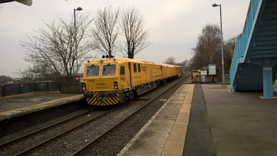 One of Network Rail's Mobile Maintenance Vehicles visiting Brigg in January 2019 - see Nigel Fisher's Brigg Blog