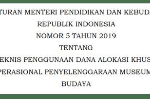 Juknis DAK Nonfisik BOP Museum dan Taman Budaya Tahun 2019