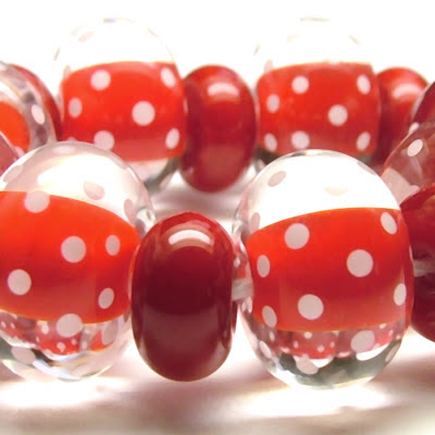 Red and white polka dot beads