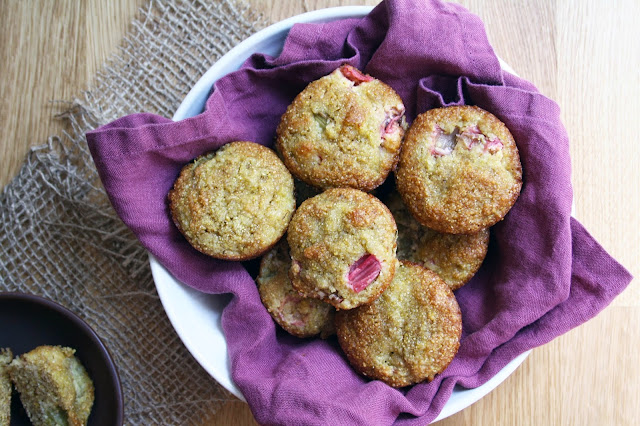 Gluten-Free Roasted Rhubarb + Cornmeal Muffins | Sevengrams