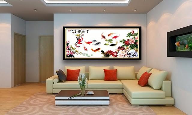 Trang trí phòng khách bằng tranh thêu