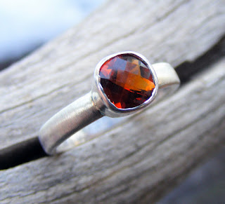 fire citrine gemstone cushion cut ring