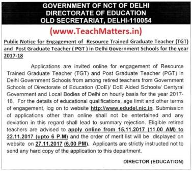 image : EDUDEL Delhi Resource Teacher (PGT-TGT) Recruitment 2017-18 @ TeachMatters