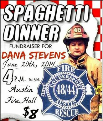 6-20 Spaghetti Dinner Austin Fire Hall