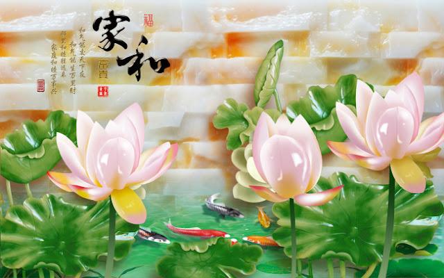 Tranh hoa sen 3D