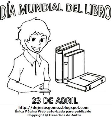 Imagen del Día Mundial del Libro para colorear, pintar e imprimir para niños - Niño mostrando libros. Dibujo del Día Mundial del Libro de Jesus Gómez