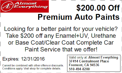 Discount Coupon $200 Off Premium Auto Paint Sale December 2016