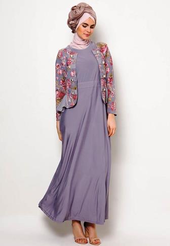 Model Baju Batik Modern Gamis Kombinasi Kain Polos