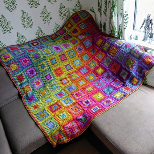 Boho Rainbow Squares Blanket - Free Pattern