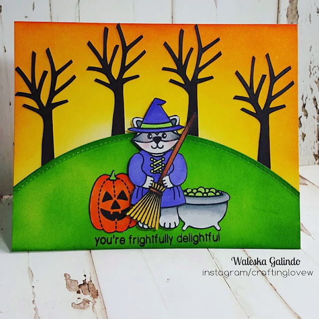 Sunny Studio Stamps: Halloween Cuties Raccoon Witch Card by Waleska