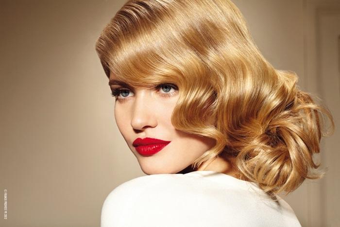 elegant blond retro updo