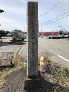 大正三年八月十三日に大洪水の記念碑と柴犬ゆき富山市