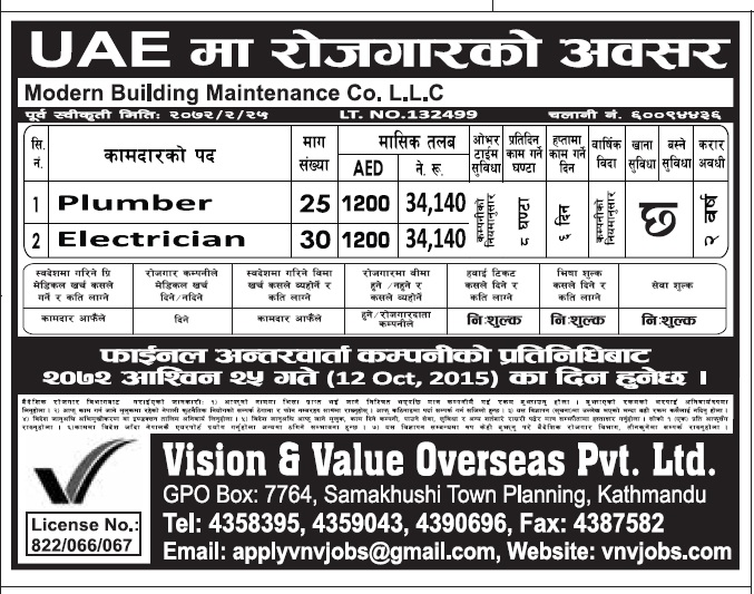 Jobs in Dubai for Nepali, Salary Rs 34,140