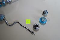Perlen entfernen: A TE® Armband Charms Damen Kristall Blau Muranoglas Blume Glasperle Mädchen Geschenk Frauen #JW-B94