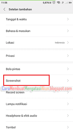 cara screenshot hp xiaomi redmi note