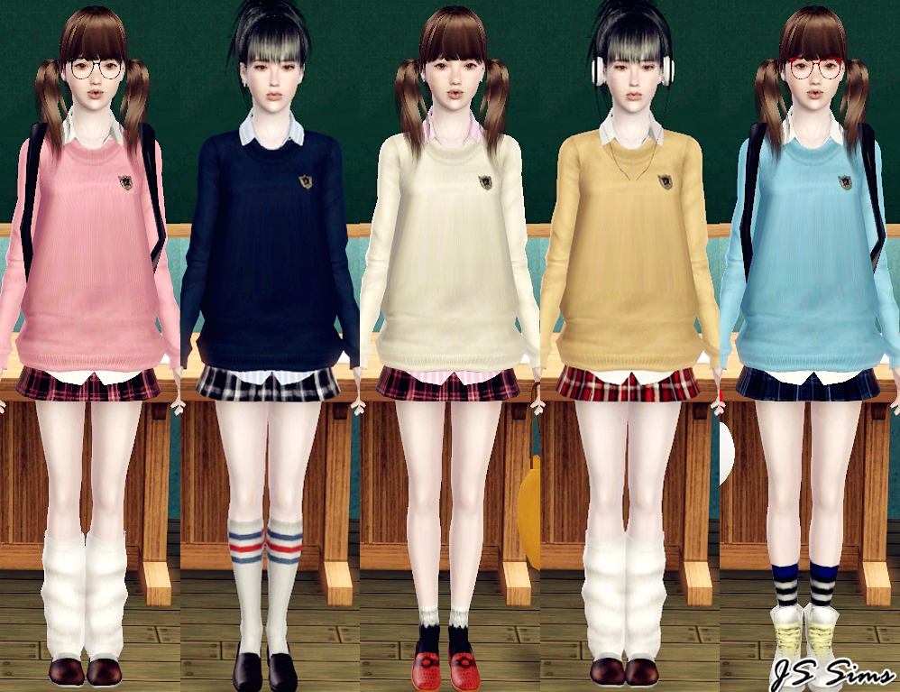 Js Sims 3 Japanese School Uniform Set  Snowwhitesdream-2042