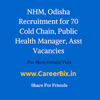 NHM, Odisha Recruitment for 70 Cold Chain, Public Health Manager, Asst Vacancies