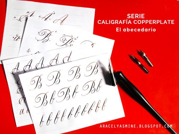 Serie caligrafía copperplate para aprender a escribir el abecedario