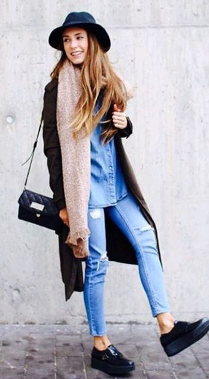 what to wear with a denim shirt : hat + coat + bag + scarf + rips + boots