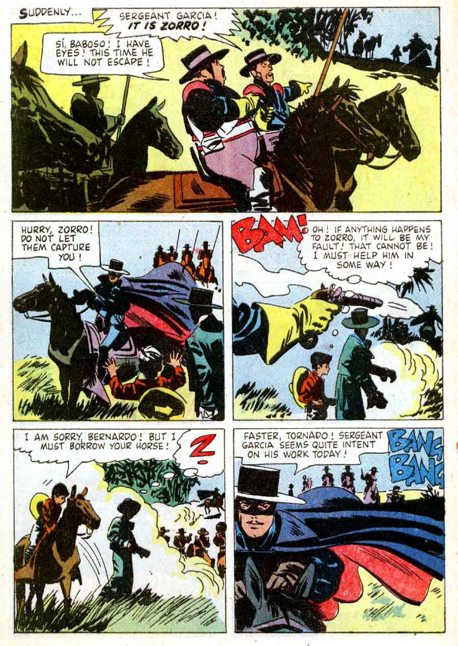 Zorro / Four Color Comics #933 golden age 1950s dell comic book page art by Alex Toth