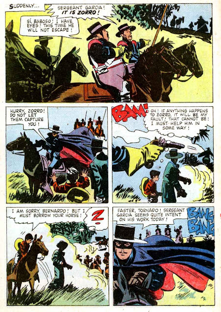 Zorro Four Color #933 1950s dell comic book page art by Alex Toth