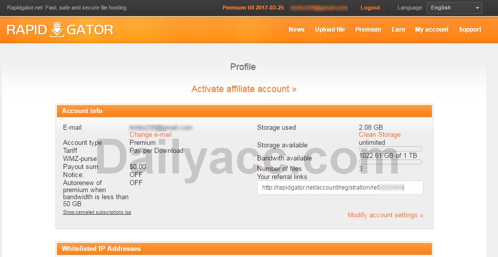 Rapidgator.net Premium Account March 21, 2017