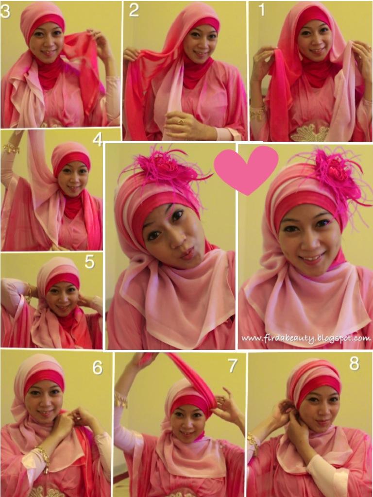 29 Gambar Lengkap Tutorial Hijab Paris Dua Warna Untuk Anda