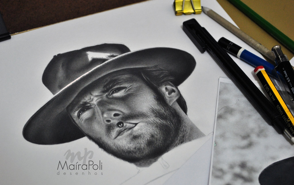 14-Clint-Eastwood-Maíra-Poli-Mahbopoli-Black-and-White-Realistic-Pencil-Celebrity-Portraits-Drawings-www-designstack-co