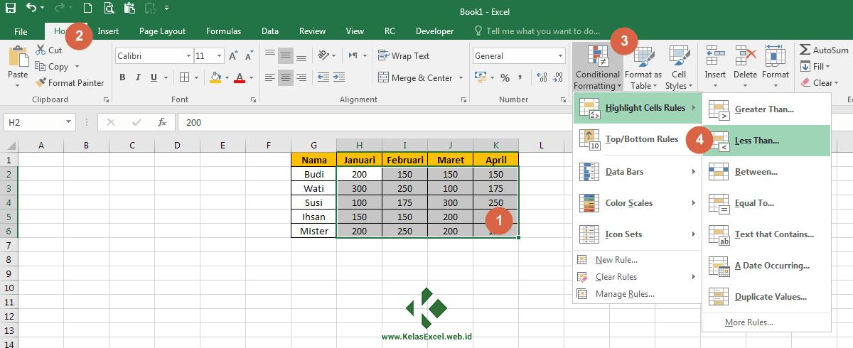 Cara Menandai Sel/Tabel Excel dengan Conditional Formatting