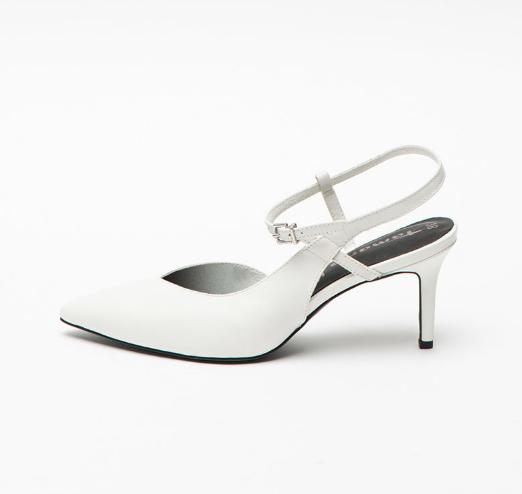 Tamaris Pantofi slingback din piele naturala albi cu toc mediu