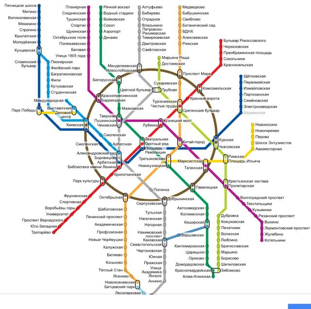 mapa do metro de moscou em cirilico
