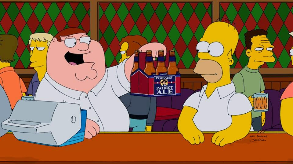 Peter Griffin offering Pawtucket Patriot Ale to Homer Simpson in Springfield in The Simpsons Family Guy crossover episode