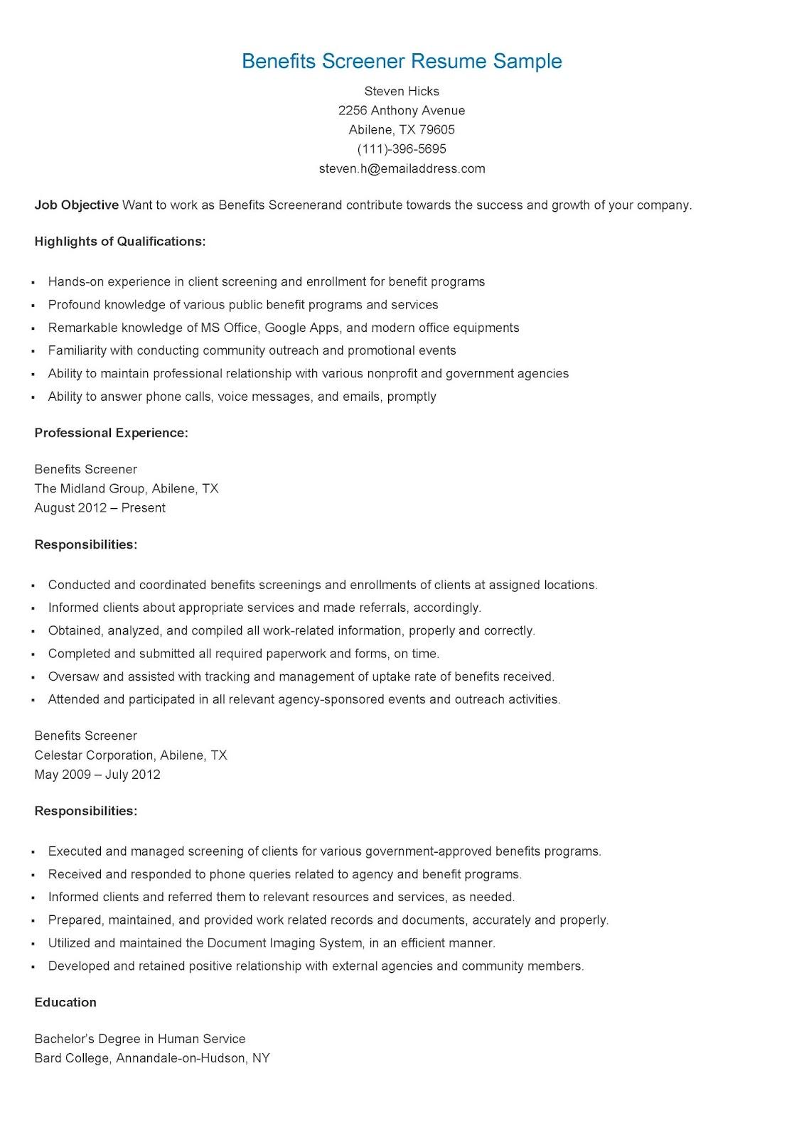 Resume Samples Benefits Screener Resume Sample