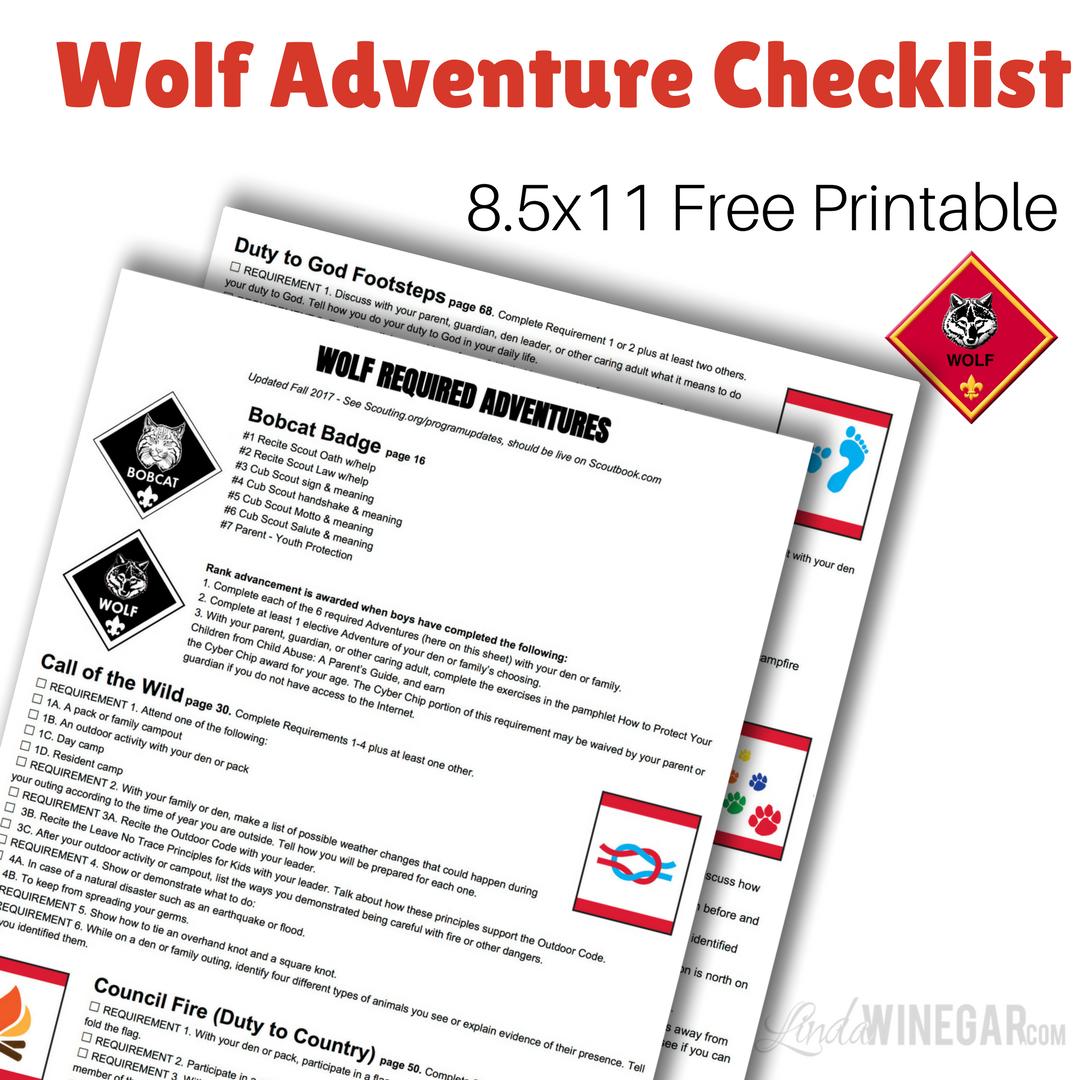 New Wolf Required Adventures Checklist