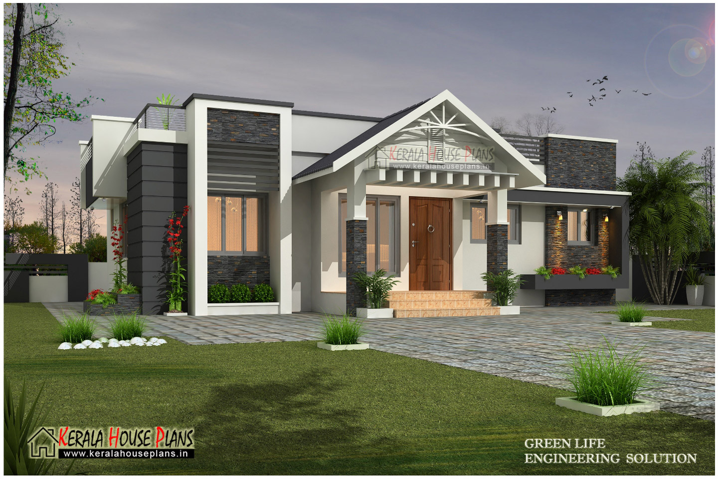 Beautiful modern single floor house design kerala house for Single floor house elevation designs