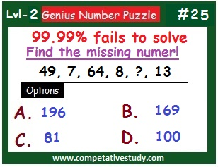 Number Puzzle: Find the missing number: 49, 7, 64, 8, ?, 13
