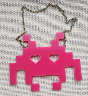 large space invader necklace in pink