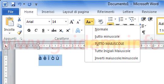 Microsoft Word scrivere lettere maiuscole accentate