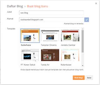 judul dan alamat saat mendaftar blogspot gratis