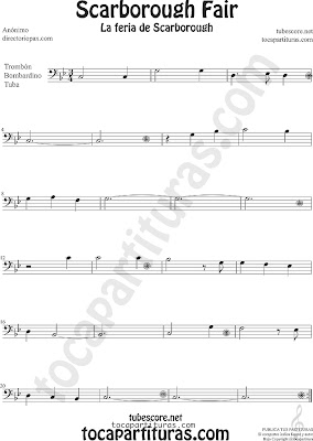 Partitura la feria de scarborough de Trombón, Tuba Elicón y Bombardino Sheet Music for Trombone, Tube, Euphonium Music Scores Scarborouh Fair