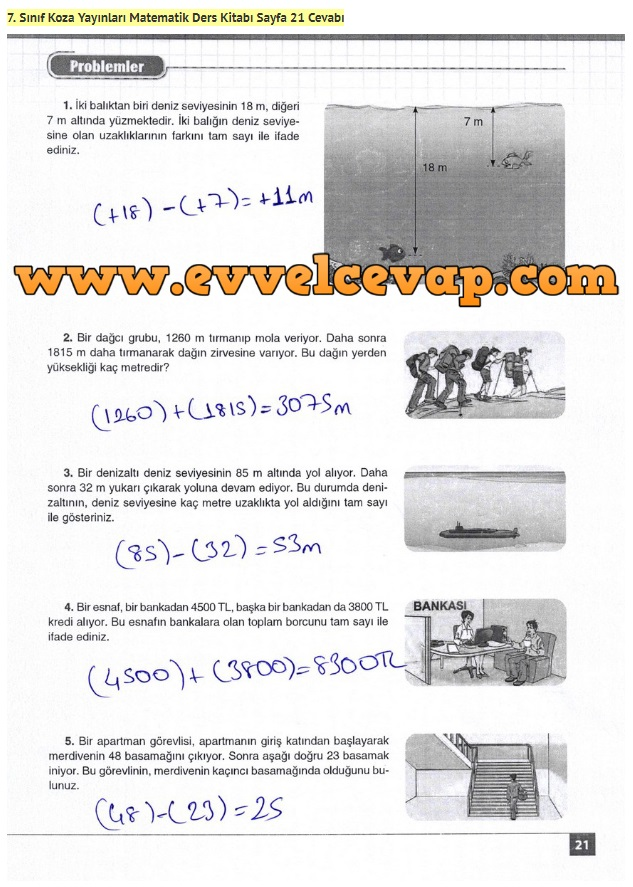7. Sınıf Matematik Ders Kitabı Cevapları Koza Yayınları Sayfa 21