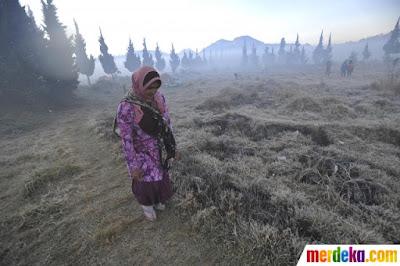 Warga berjalan di atas lapangan rumput yang diselimuti es tipis di Dieng, Wonosobo,  Jawa Tengah
