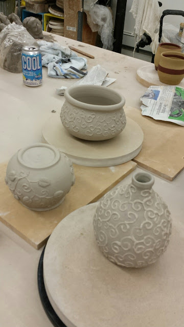 Slip trailed pottery / ceramic vessels by Lily L, in progress.