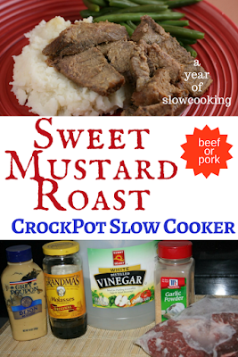 You can make this roast with either beef or pork. The sauce is made with molasses, dijon mustard, garlic powder, and vinegar -- this is a dump it all in and forget recipe. I love it when I use my crockpot slow cooker to make dinner!