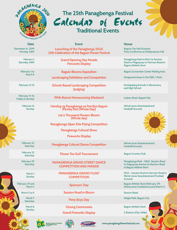 PANAGBENGA FESTIVAL 2020 SCHEDULE OF EVENTS AND ACTIVITIES