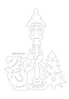 трафарет снеговик и фонарь
