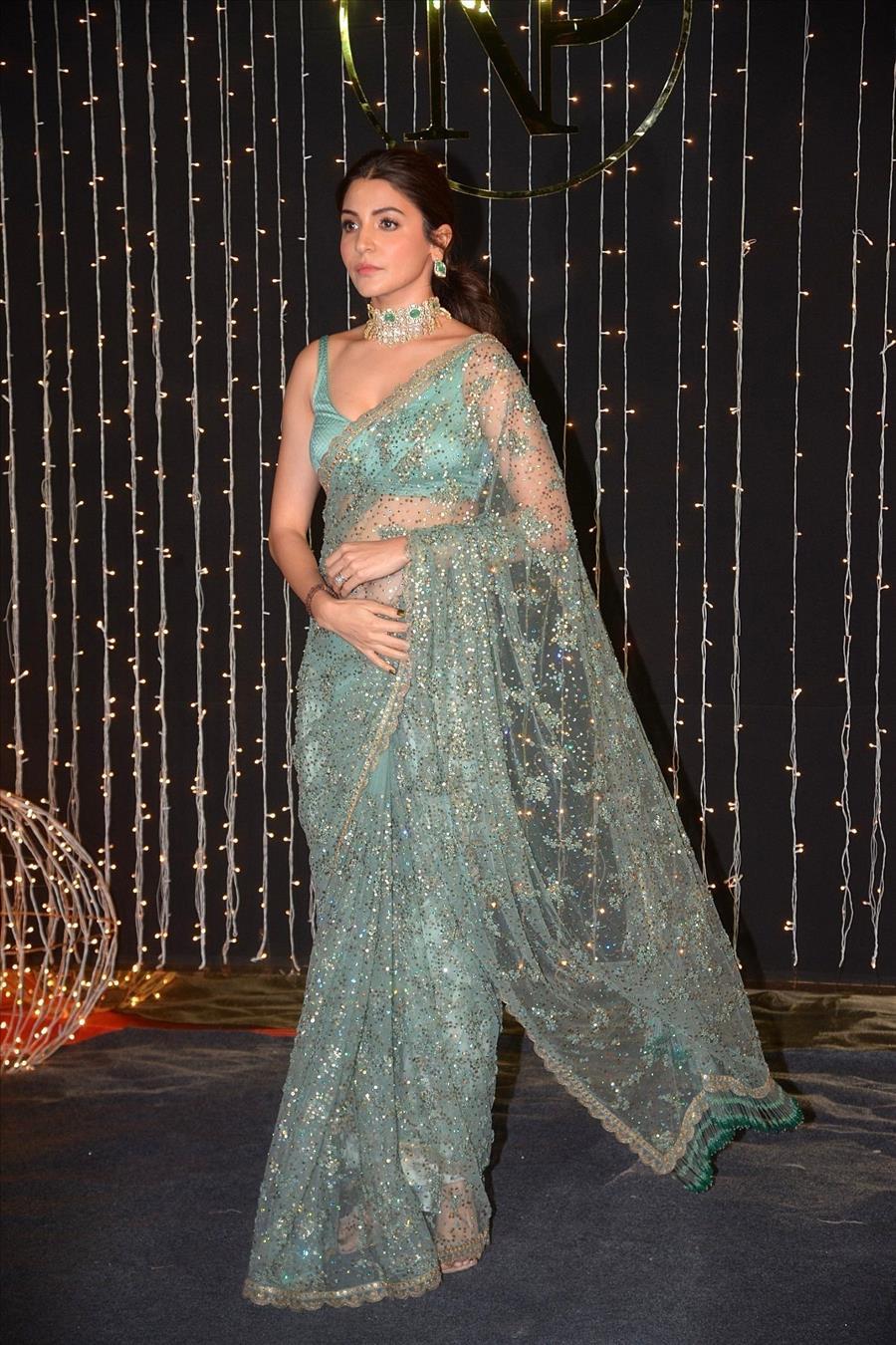 Glamorous Indian Model Anushka Sharma In Green Saree