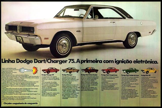 propaganda Dodge Dart/Charger 75 - Chrysler - 1974. anos 70. propaganda de carros anos 70